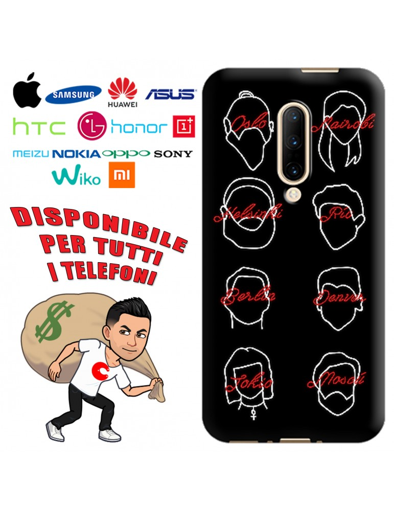 COVER LA CASA DE PAPEL NEON STYLE PER APPLE IPHONE, SAMSUNG GALAXY, HUAWEI, ASUS, WIKO, XIAOMI, HONOR, ONEPLUS
